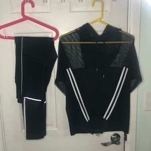 Other - Black Mesh Track Suit - Leggings and Sweater